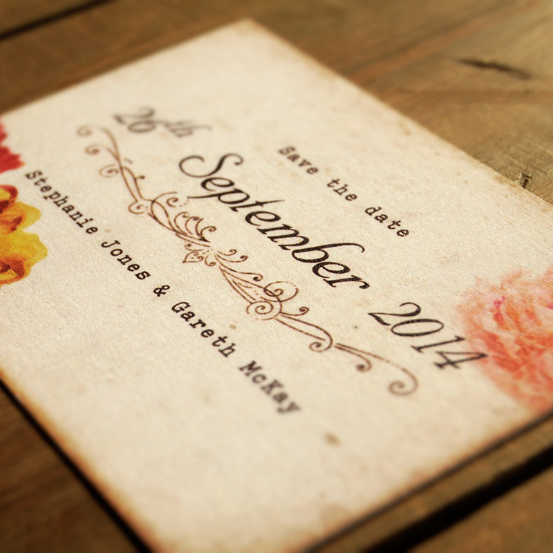 Shabby Chic Postcard Wedding Invitation - Feel Good Wedding Invitations - post card invitations