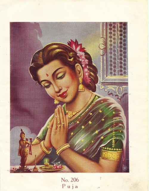Beautiful Indian Woman Performing Prayer vintage art print