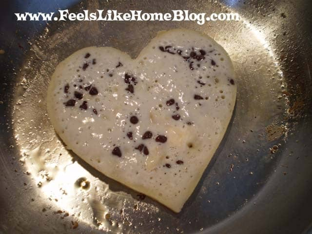 Heart-Shaped Banana Pancakes with Chocolate Chips and Peanut Butter