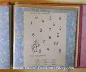 preschool activity book numbers page
