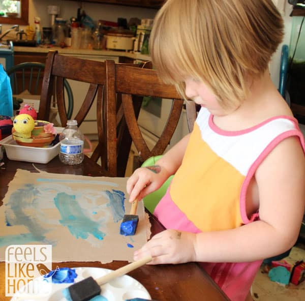 Volcanic Island Craft - Painting the Ocean