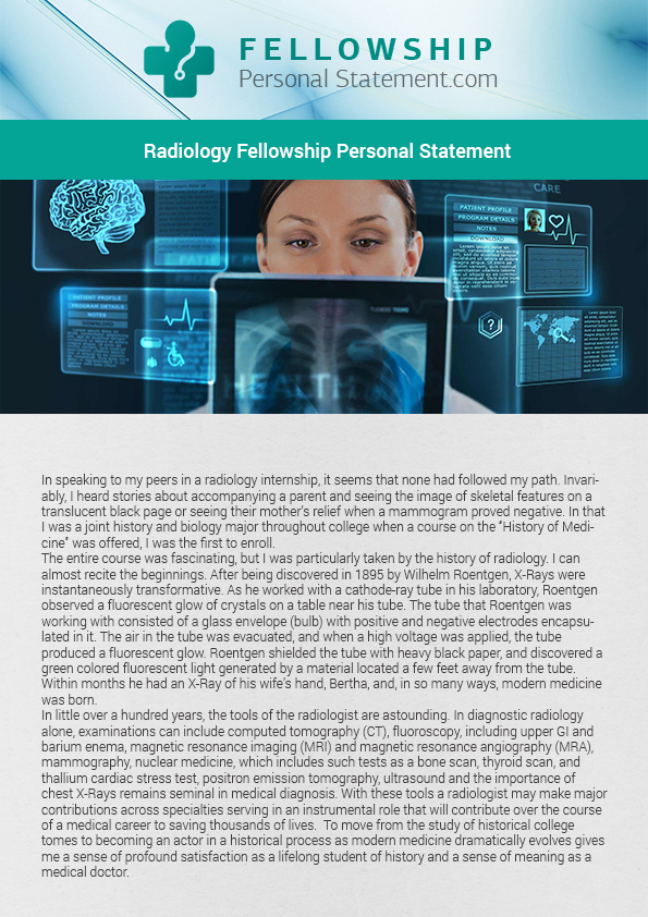 Getting accepted into the pediatric radiology fellowship program you - personal statement sample