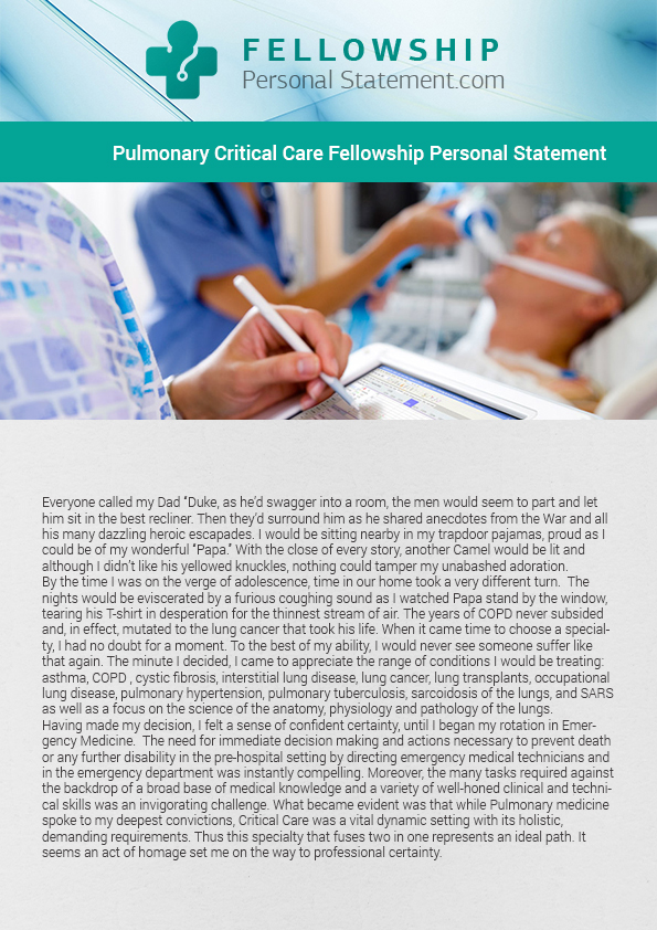 Pulmonary Fellowship Personal Statement Pulmonary Fellowship - help writing a resume