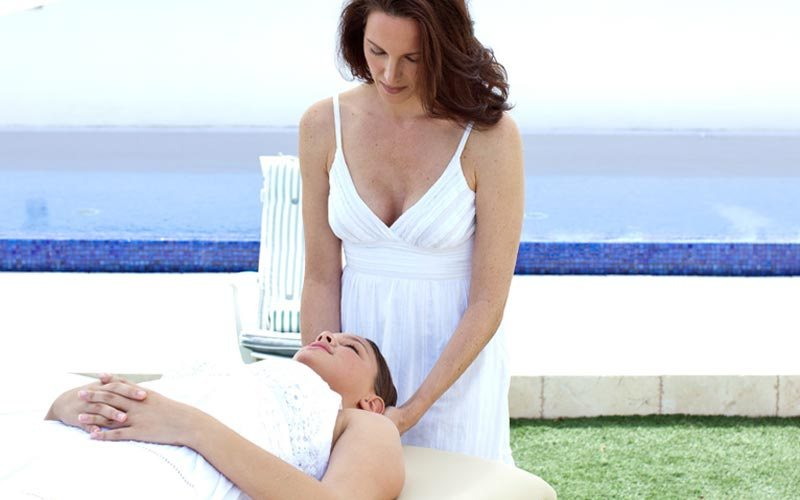 Susan Miner during a energy healing session.