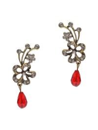 Red-stone-flower-earrings - FemNmas