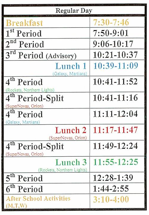 Bell Schedules / Bell and Transition Schedule