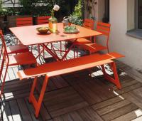 Fermob Cargo colourful designer metal table, for 8 people.