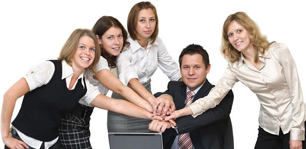 Five young busines people in office take hands together. Isolated on white background