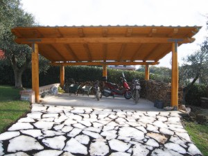 carport in castagno 7x6