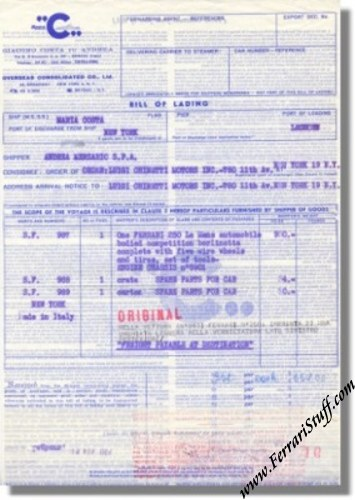 1964 Bill of sale bill of lading etc on Ferrari 250LM S/N 5901 5901-01
