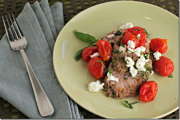 Roasted Pork Tenderloin with Crumbled Goat Cheese and Blistered Tomatoes 4