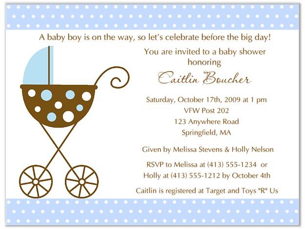 Stroller Fun Boy Blue Polka Dots Baby Shower Invitations Baby Shower