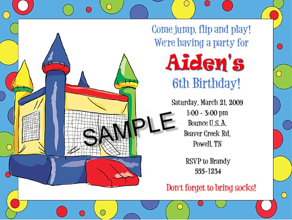 Bounce House Moonwalk Inflatable Birthday Party Invitations Bounce
