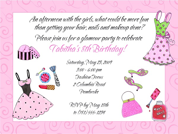 Glamour Girl Makeup Dress Up Birthday Party Invitations Glamour - birthday party invitations