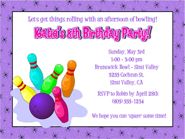 Bowling Birthday Party Invitations Girl 2 Bowling Sports Kids Birthday