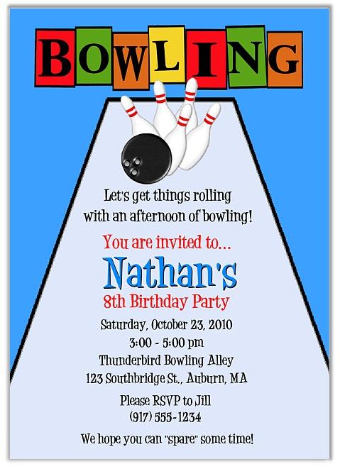 Bowling Birthday Party Invitations Boy Bowling Sports Kids Birthday