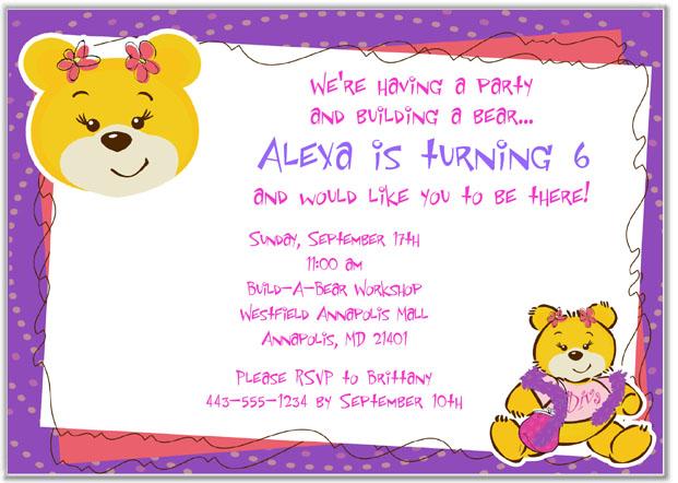 Build A Bear Birthday Party Invitations