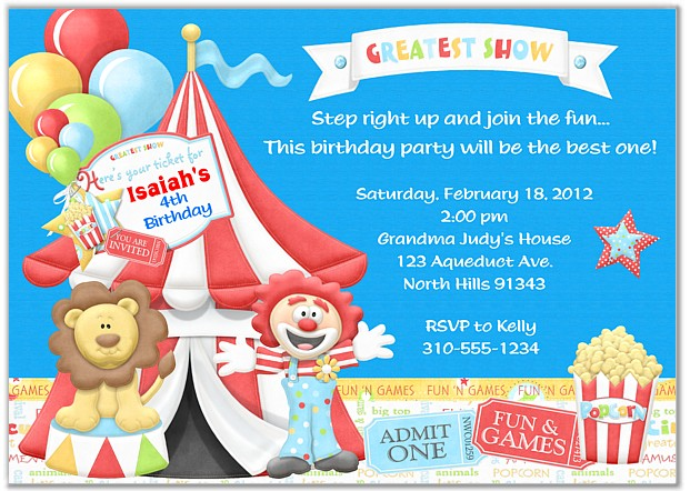 Circus Birthday Party Invitations Circus Kids Birthday - Circus Party Invitation