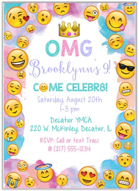 Emoji Birthday Party Invitations Kids Birthday - birthday party invitations
