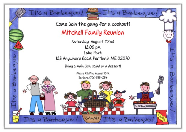 Family Reunion BBQ Barbeque Cookout Party Invitations - invitations for family reunion