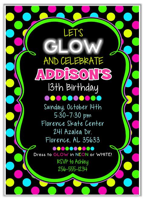 Neon Glow Birthday Party Invitations Kids Birthday - birthday party invitations