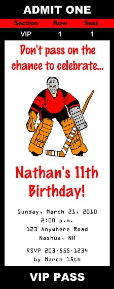 Hockey Birthday Party Ticket Invitations Hockey Sports Kids - party ticket invitations