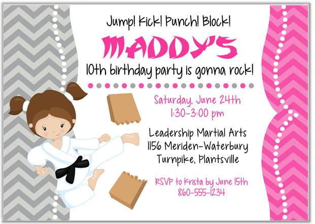 Karate Tae Kwon Do Martial Arts Birthday Party Invitations