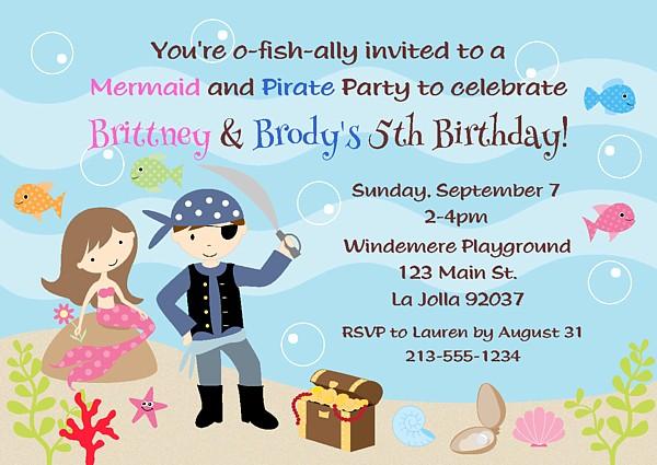 Mermaid And Pirate Birthday Party Invitations Mermaid