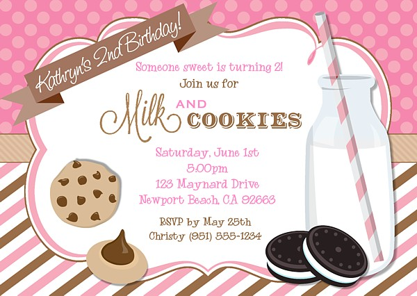 Milk and Cookies Birthday Party Invitations Milk and Cookies