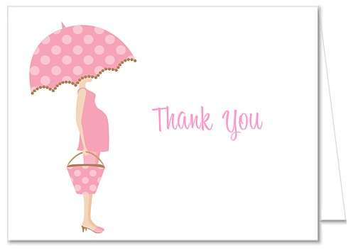 Mod Mom Trendy Girl Pink Baby Shower Thank You Note Cards