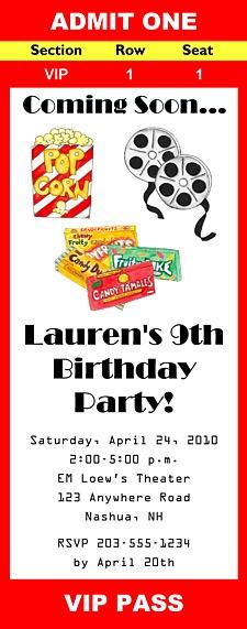 Movie Theater Birthday Party Ticket Invitations Movies Kids Birthday - party ticket invitations