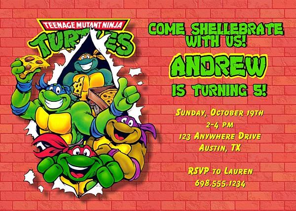 Diy Ninja Turtle Birthday Invitations Menshealtharts