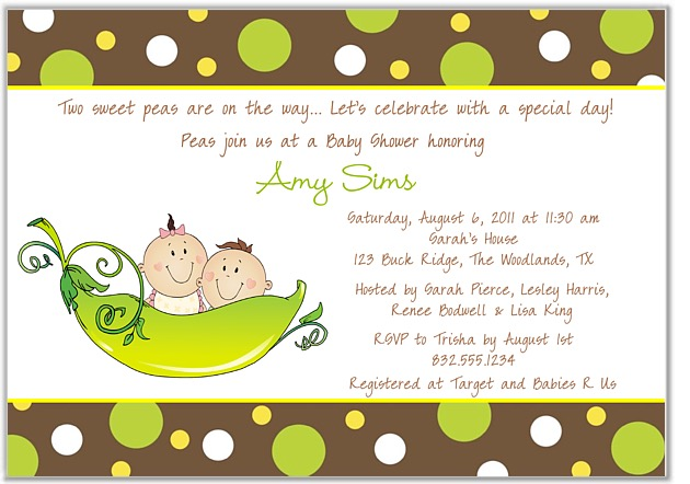 Pot Girl Wallpaper Two Peas In A Pod Twins Baby Shower Invitations Boy Girl