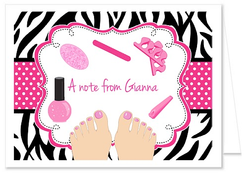 Zebra Pedicure Spa Party Thank You Note Cards Personalized
