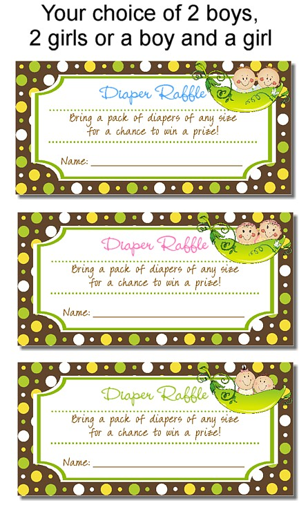 Two Peas in a Pod Twins Baby Shower Diaper Raffle Tickets