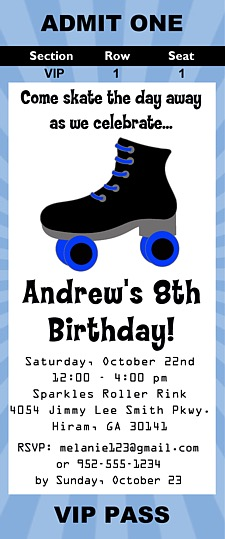 Roller Skating Birthday Party Ticket Invitations