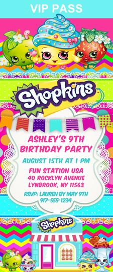 Shopkins Birthday Party Ticket Invitations Shopping Kids Birthday - ticket invitation