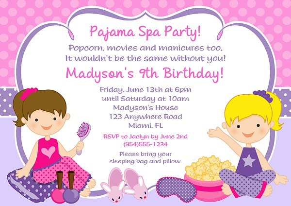 Pajama Spa Birthday Party Invitations Glamour Makeover Spa Kids - spa invitation