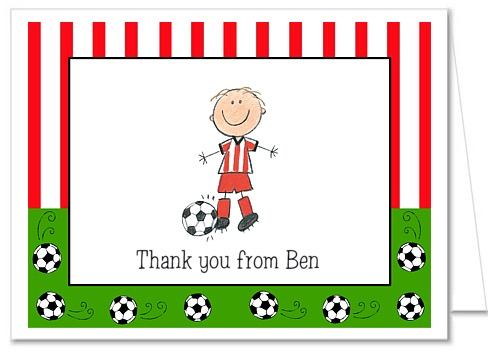 Soccer Boy Birthday Party Thank You Note Cards Personalized