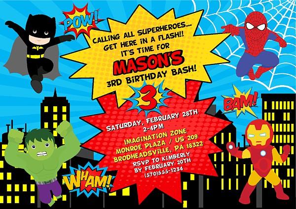 Superhero Birthday Party Invitations Kids Birthday