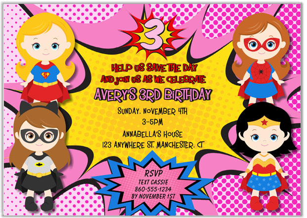 Superhero Girl Birthday Party Invitations Kids Birthday - girl birthday party invitations