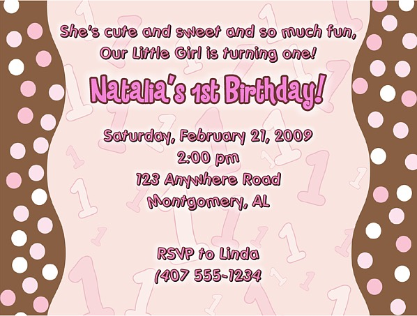 Trendy Pink Brown Polka Dots 1st Birthday Girl Party Invitations 1st