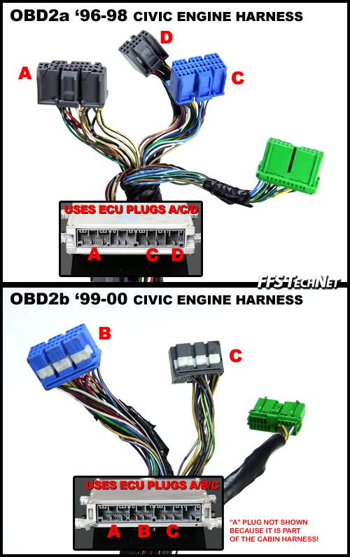 obd2a honda wiring harness