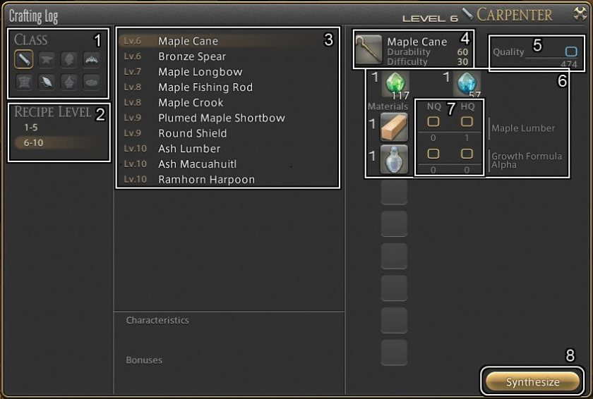 ARR Crafting Log UI