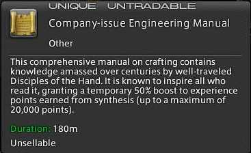 ffxiv arr reborn crafting guide engineering manual