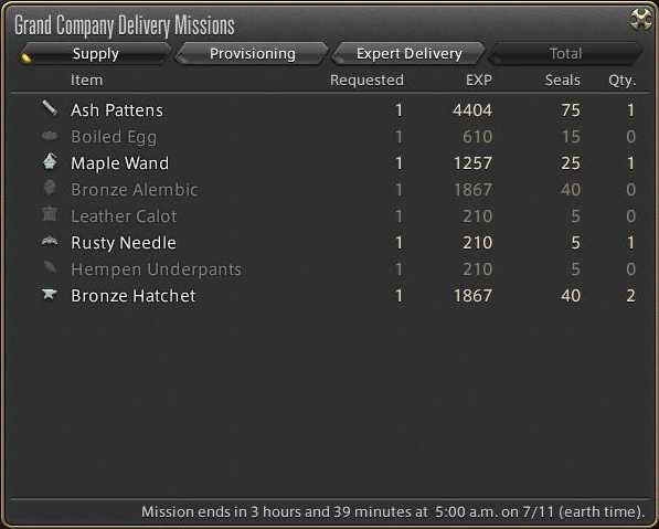 ffxiv arr reborn crafting leveling guide delivery missions