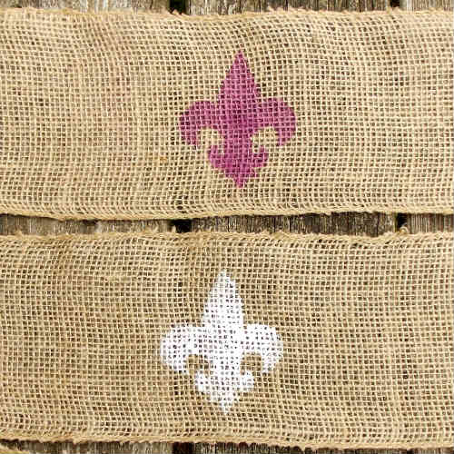 Burlap Wrapped Mason Jar with Fleur De Lis, FiberArtsy.com
