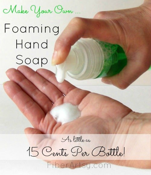 Save Money!! Make your own DIY Foaming Hand Soap with this super easy recipe. You can also find step by step tutorials for bath bombs and sugar scrubs at FiberArtsy.com