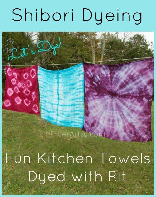 Tie Dyed Tea Towels, FiberArtsy.com