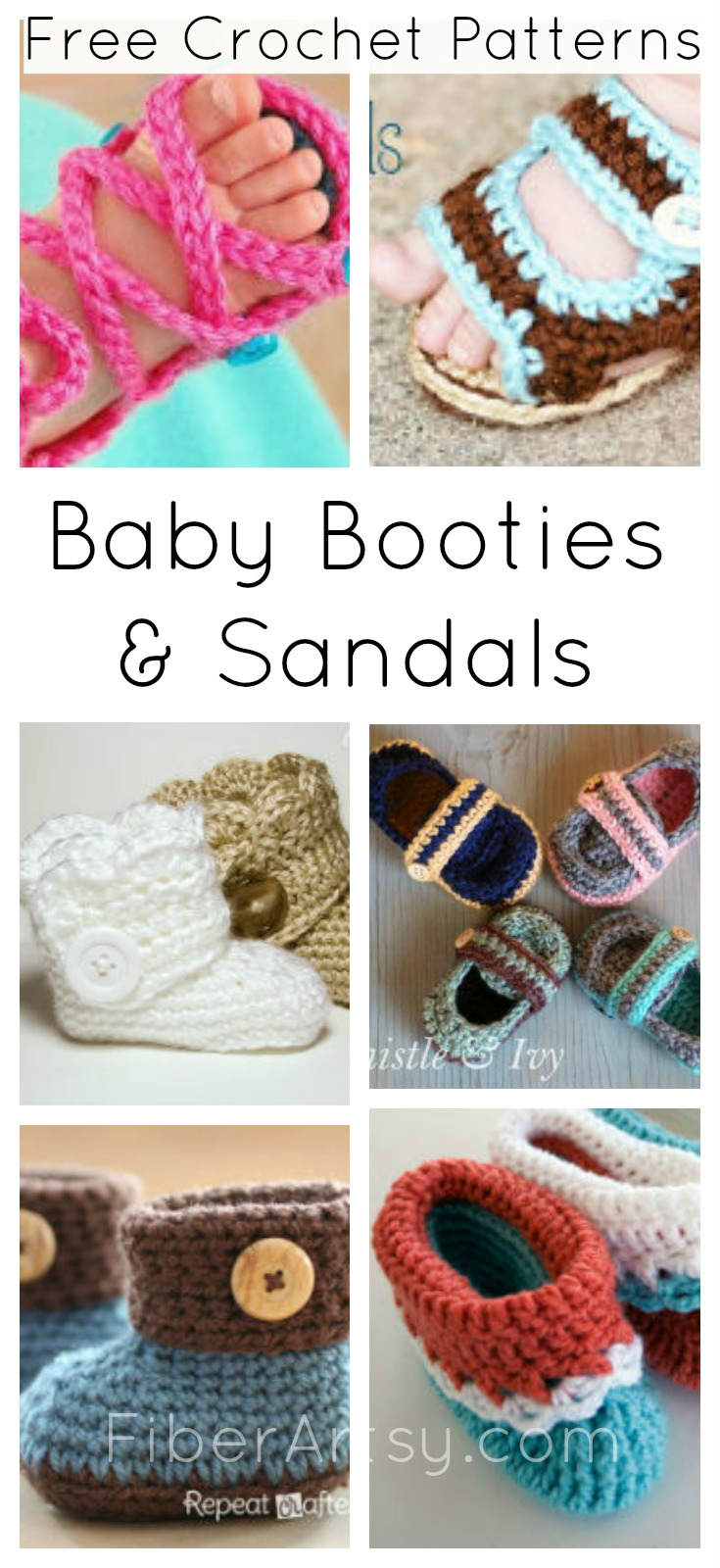 Baby Shoe Booty and Sandal Free Crochet Patterns FiberArtsy.com